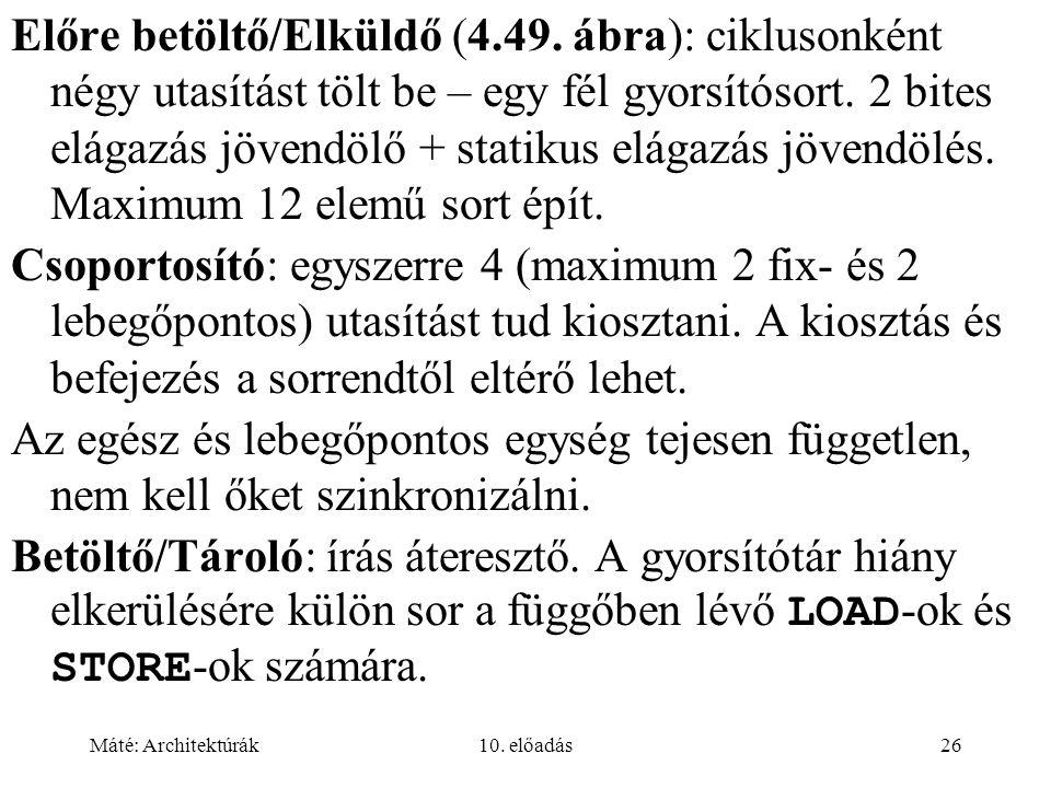 Máté: Architektúrák10.előadás26 Előre betöltő/Elküldő (4.49.