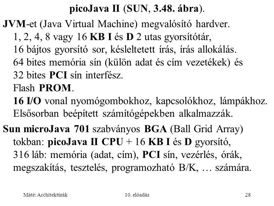 Máté: Architektúrák10. előadás28 picoJava II (SUN, 3.48.