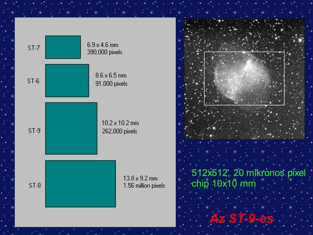 512x512, 20 mikronos pixel chip 10x10 mm Az ST-9-es
