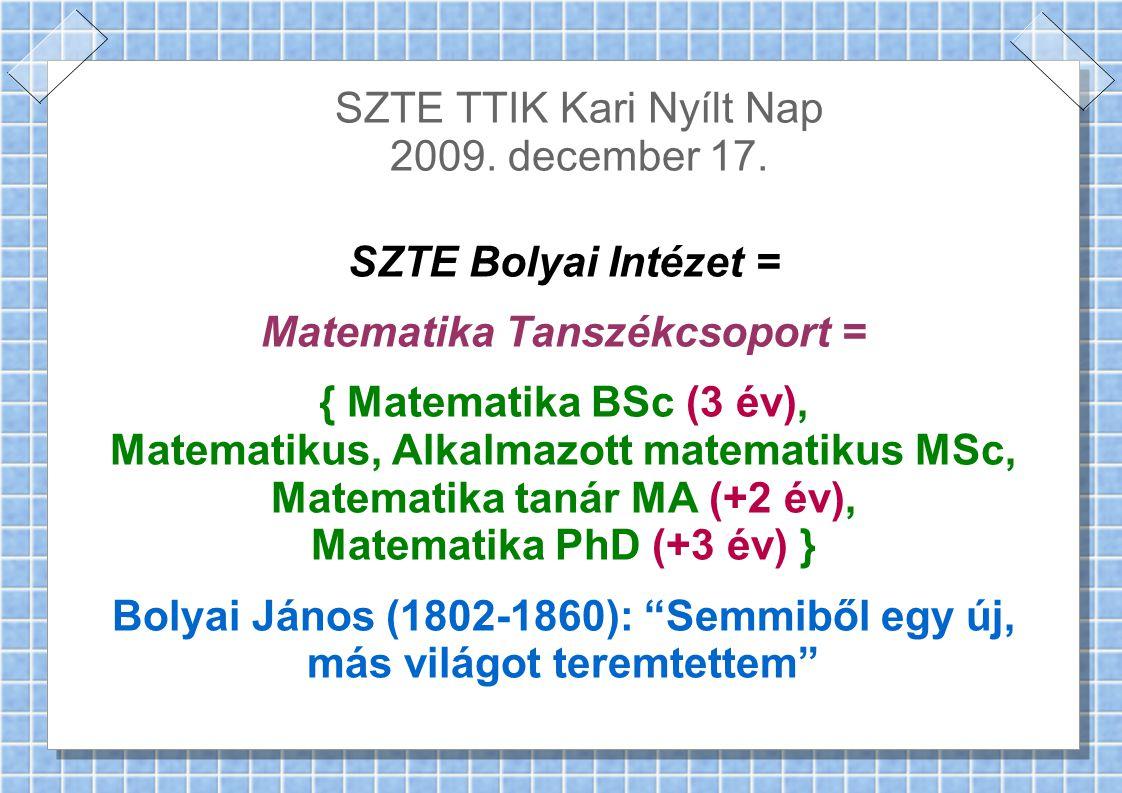 SZTE TTIK Kari Nyílt Nap 2009. december 17.
