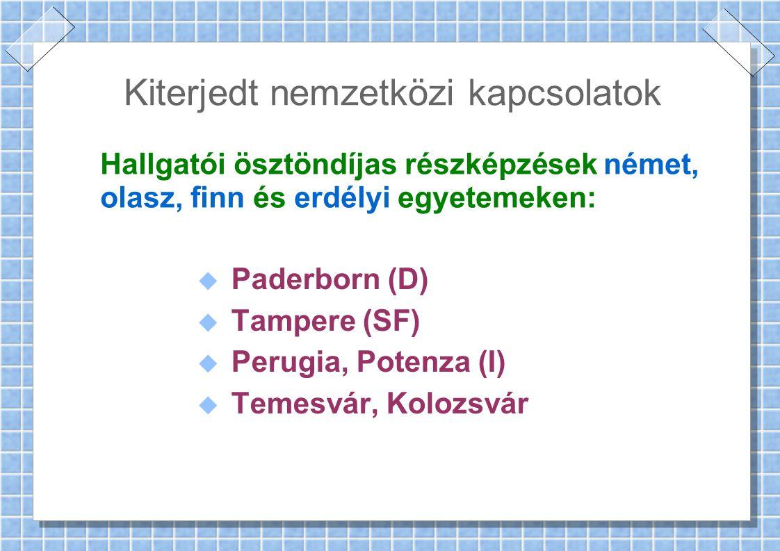 Kiterjedt nemzetközi kapcsolatok Hallgatói ösztöndíjas részképzések német, olasz, finn és erdélyi egyetemeken:  Paderborn (D)  Tampere (SF)  Perugia, Potenza (I)  Temesvár, Kolozsvár