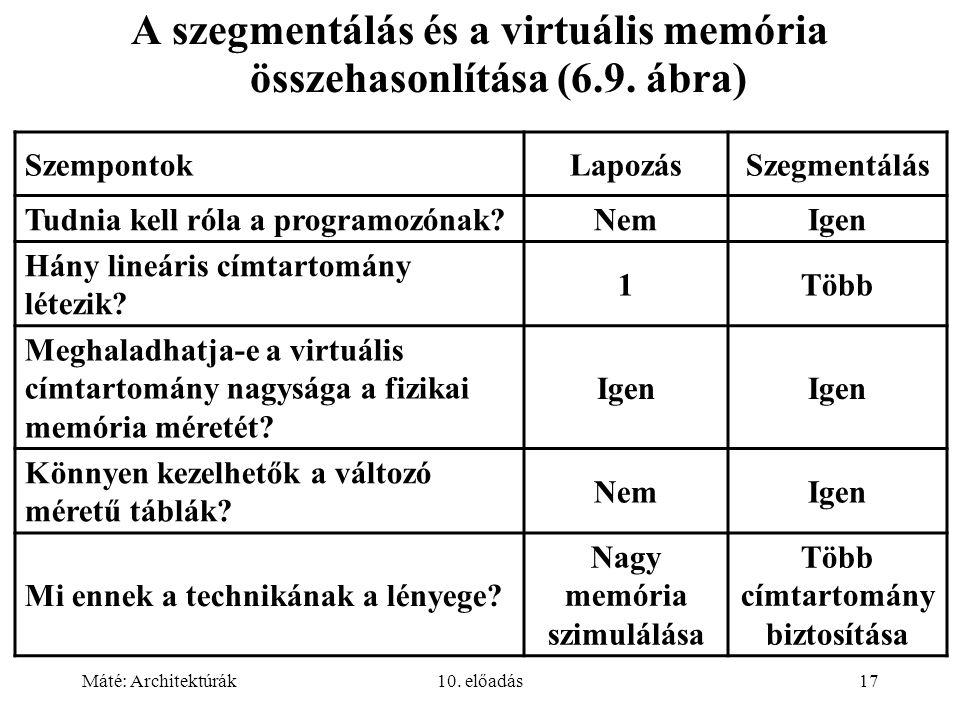 Máté: Architektúrák10. előadás17 A szegmentálás és a virtuális memória összehasonlítása (6.9.