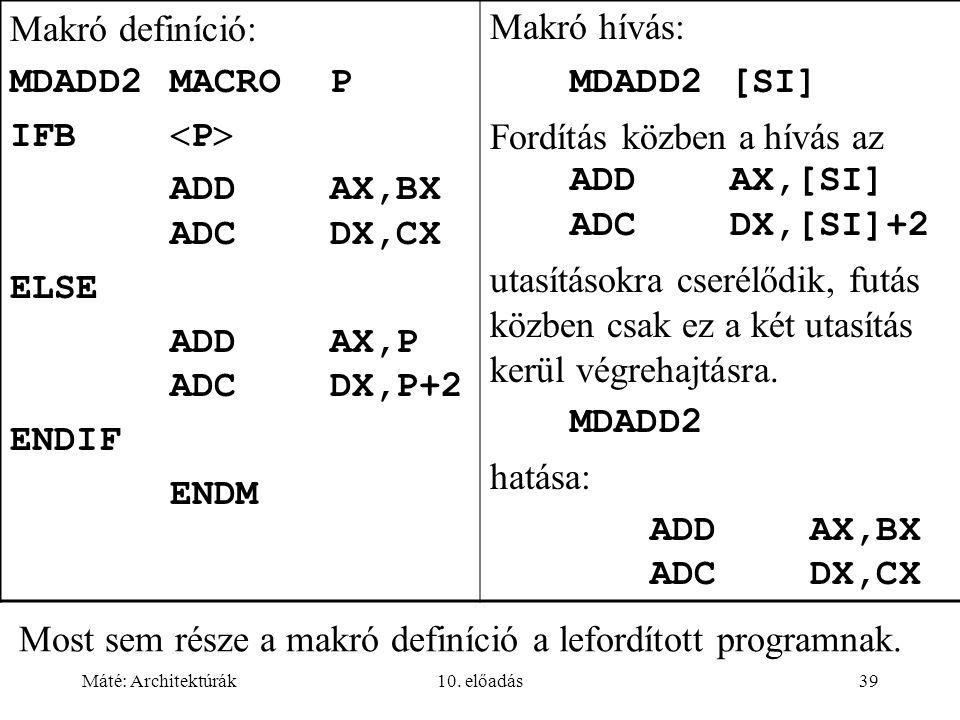Máté: Architektúrák10. előadás39 Most sem része a makró definíció a lefordított programnak.