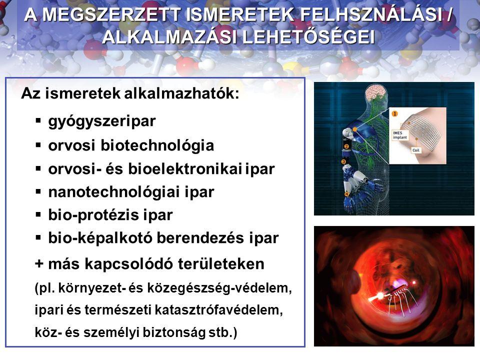 Az ismeretek alkalmazhatók:  gyógyszeripar  orvosi biotechnológia  orvosi- és bioelektronikai ipar  nanotechnológiai ipar  bio-protézis ipar  bi