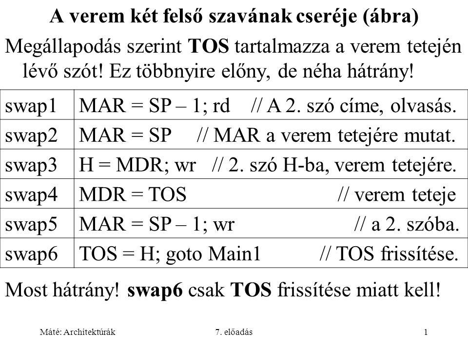 Máté: Architektúrák7.előadás52 Feladatok adb12H bdb 23H Cdw.