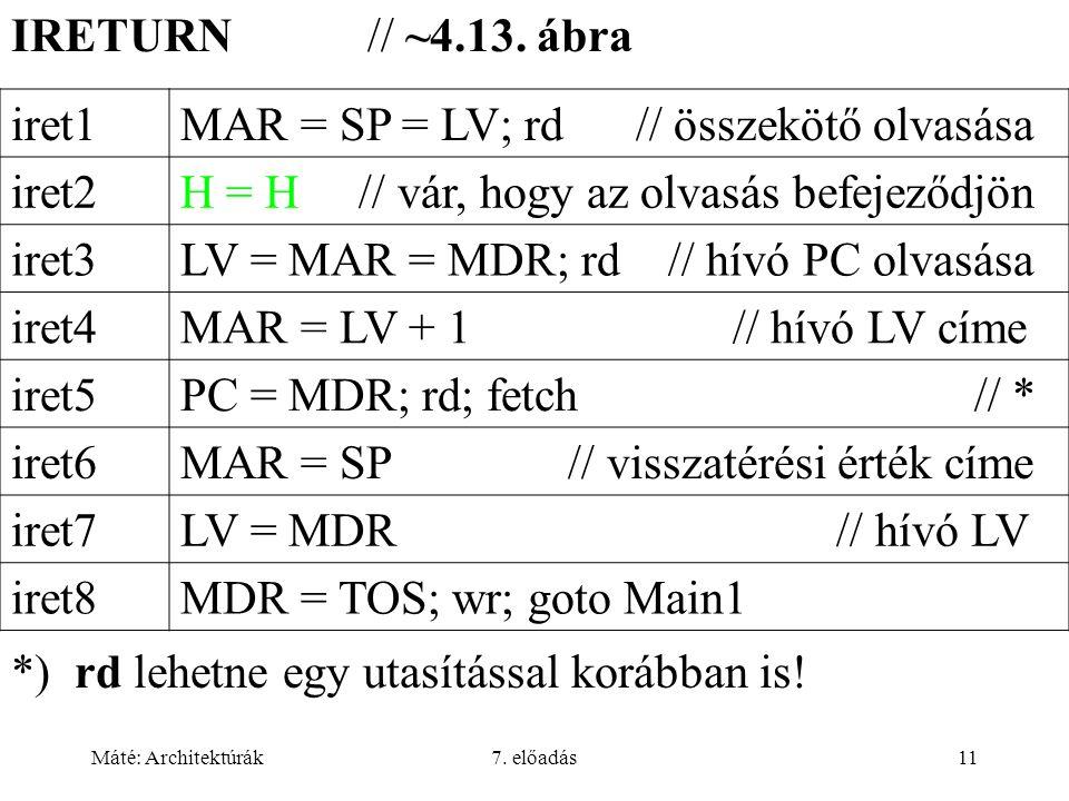 Máté: Architektúrák7. előadás11 IRETURN // ~4.13.