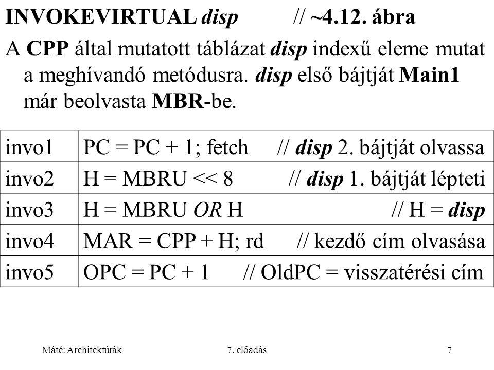 Máté: Architektúrák7. előadás7 INVOKEVIRTUAL disp // ~4.12.