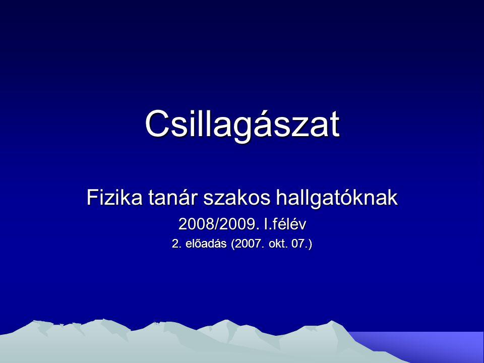 Csillagászat Fizika tanár szakos hallgatóknak 2008/2009. I.félév 2. előadás (2007. okt. 07.)