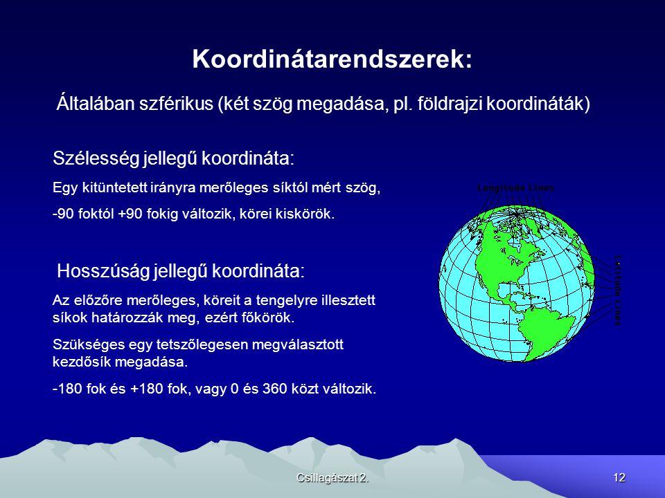 Csillagászat 2.12 Koordinátarendszerek: Általában szférikus (két szög megadása, pl. földrajzi koordináták) Szélesség jellegű koordináta: Egy kitüntete