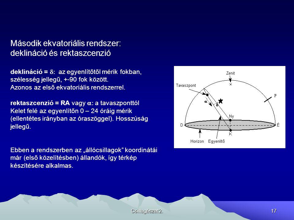 Csillagászat 2.17 Második ekvatoriális rendszer: deklináció és rektaszcenzió deklináció =  az egyenlítőtől mérik fokban, szélesség jellegű, +-90 fok között.