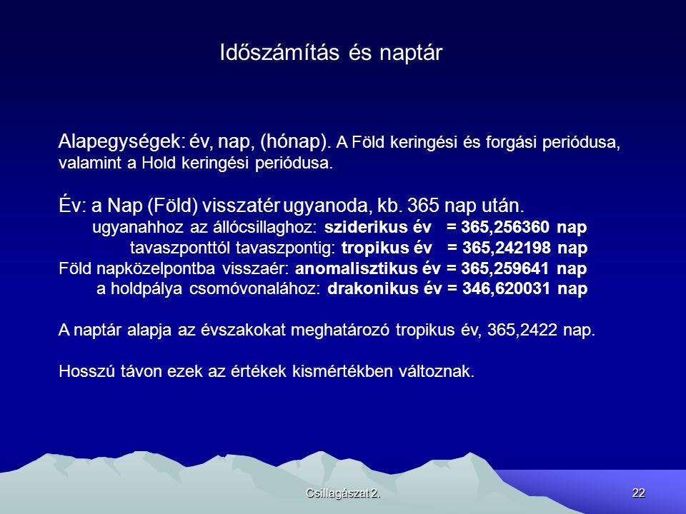 Csillagászat 2.22 Időszámítás és naptár Alapegységek: év, nap, (hónap). A Föld keringési és forgási periódusa, valamint a Hold keringési periódusa. Év