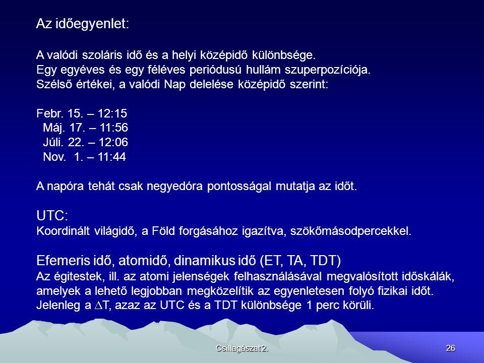 Csillagászat 2.26 Az időegyenlet: A valódi szoláris idő és a helyi középidő különbsége.