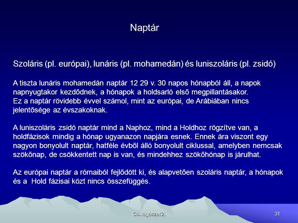 Csillagászat 2.31 Naptár Szoláris (pl. európai), lunáris (pl. mohamedán) és luniszoláris (pl. zsidó) A tiszta lunáris mohamedán naptár 12 29 v. 30 nap