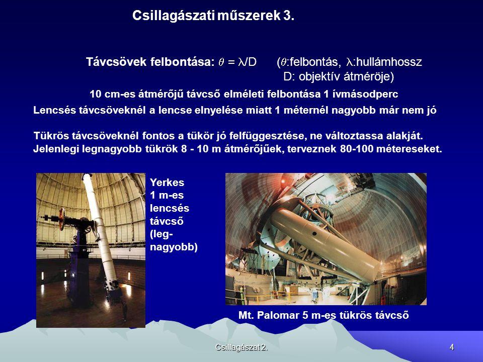 Csillagászat 2.4 Csillagászati műszerek 3. Távcsövek felbontása:   /D (  :felbontás, :hullámhossz D: objektív átméröje) Lencsés távcsöveknél a lenc