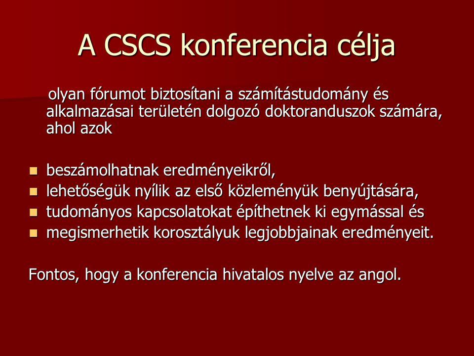 A CSCS konferencia célja olyan fórumot biztosítani a számítástudomány és alkalmazásai területén dolgozó doktoranduszok számára, ahol azok olyan fórumo