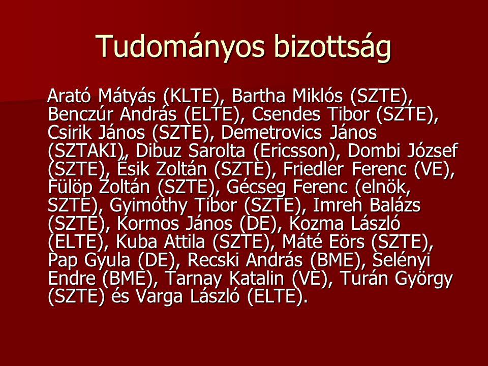 Tudományos bizottság Arató Mátyás (KLTE), Bartha Miklós (SZTE), Benczúr András (ELTE), Csendes Tibor (SZTE), Csirik János (SZTE), Demetrovics János (S
