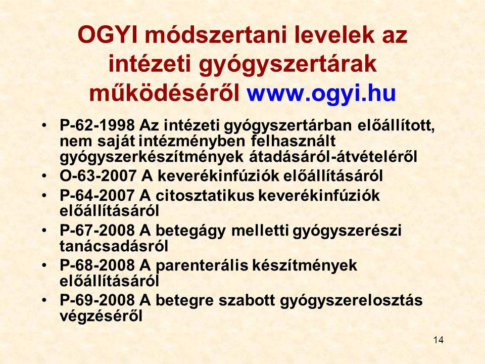 14 OGYI módszertani levelek az intézeti gyógyszertárak működéséről www.ogyi.hu P-62-1998 Az intézeti gyógyszertárban előállított, nem saját intézményben felhasznált gyógyszerkészítmények átadásáról-átvételéről O-63-2007 A keverékinfúziók előállításáról P-64-2007 A citosztatikus keverékinfúziók előállításáról P-67-2008 A betegágy melletti gyógyszerészi tanácsadásról P-68-2008 A parenterális készítmények előállításáról P-69-2008 A betegre szabott gyógyszerelosztás végzéséről