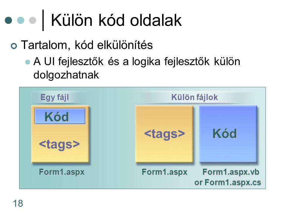 18 Külön kód oldalak Tartalom, kód elkülönítés A UI fejlesztők és a logika fejlesztők külön dolgozhatnak Form1.aspxForm1.aspx Form1.aspx.vb Form1.aspx.vb or Form1.aspx.cs Kód Kód Külön fájlokEgy fájl