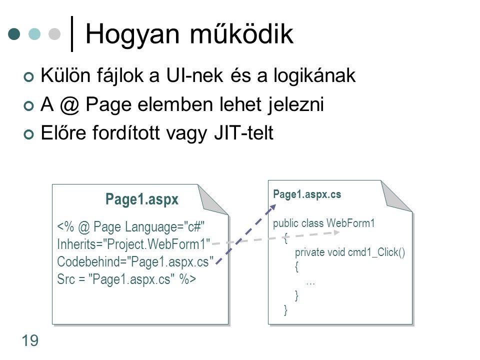 19 Hogyan működik Külön fájlok a UI-nek és a logikának A @ Page elemben lehet jelezni Előre fordított vagy JIT-telt Page1.aspx Page1.aspx.cs public class WebForm1 { private void cmd1_Click() { … }
