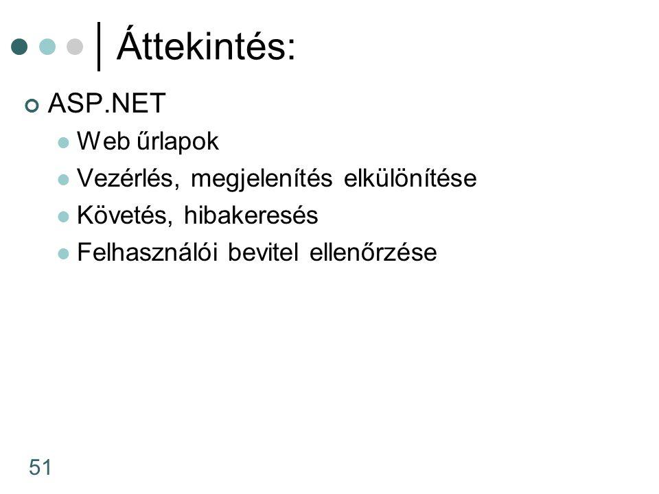 51 Áttekintés: ASP.NET Web űrlapok Vezérlés, megjelenítés elkülönítése Követés, hibakeresés Felhasználói bevitel ellenőrzése