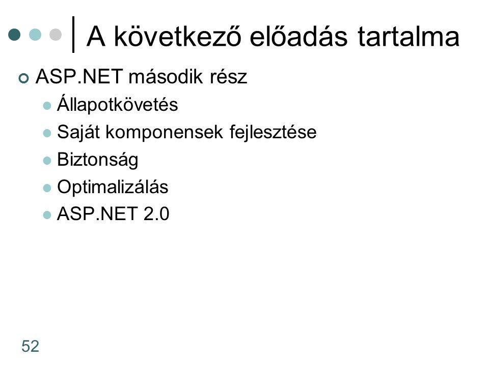 52 A következő előadás tartalma ASP.NET második rész Állapotkövetés Saját komponensek fejlesztése Biztonság Optimalizálás ASP.NET 2.0