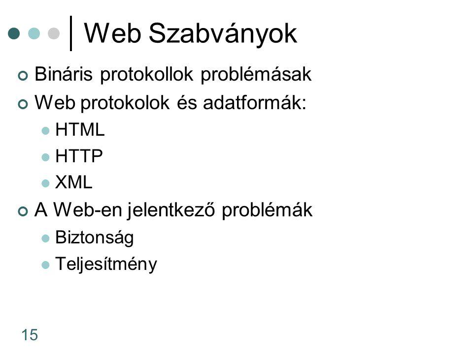 15 Web Szabványok Bináris protokollok problémásak Web protokolok és adatformák: HTML HTTP XML A Web-en jelentkező problémák Biztonság Teljesítmény