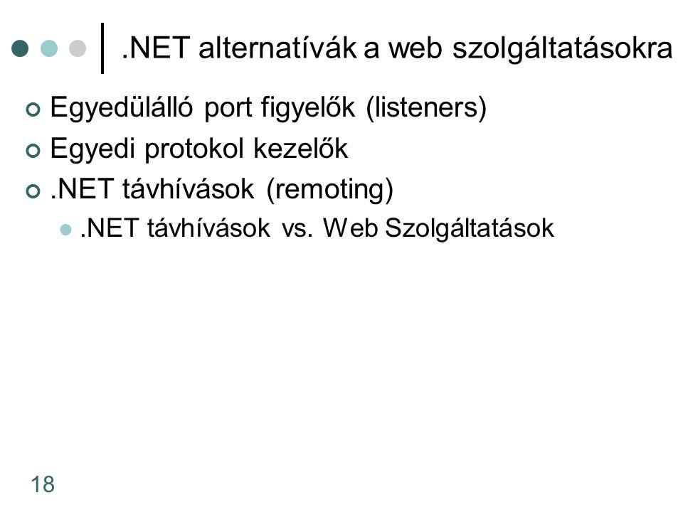 18.NET alternatívák a web szolgáltatásokra Egyedülálló port figyelők (listeners) Egyedi protokol kezelők.NET távhívások (remoting).NET távhívások vs.