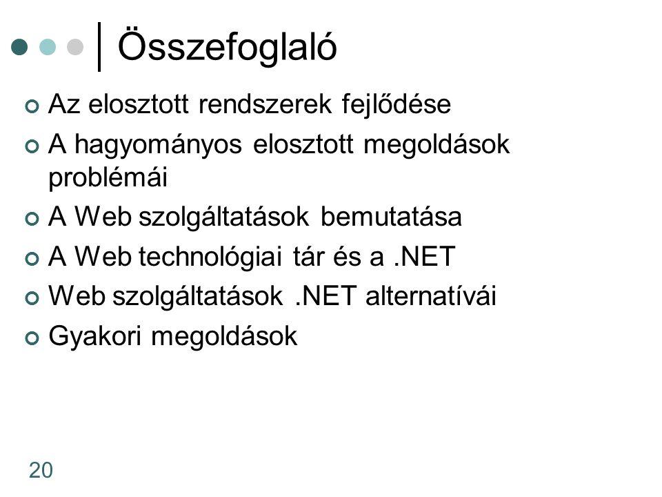 20 Összefoglaló Az elosztott rendszerek fejlődése A hagyományos elosztott megoldások problémái A Web szolgáltatások bemutatása A Web technológiai tár