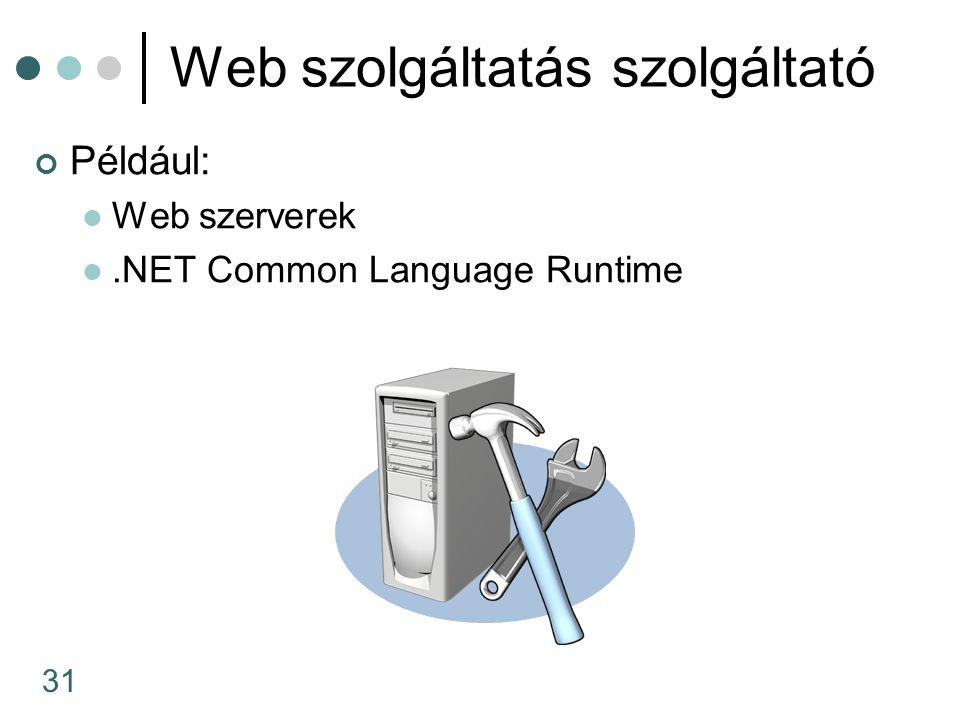 31 Web szolgáltatás szolgáltató Például: Web szerverek.NET Common Language Runtime