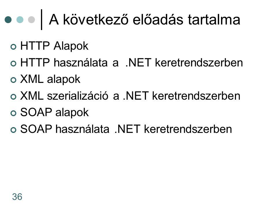 36 A következő előadás tartalma HTTP Alapok HTTP használata a.NET keretrendszerben XML alapok XML szerializáció a.NET keretrendszerben SOAP alapok SOA