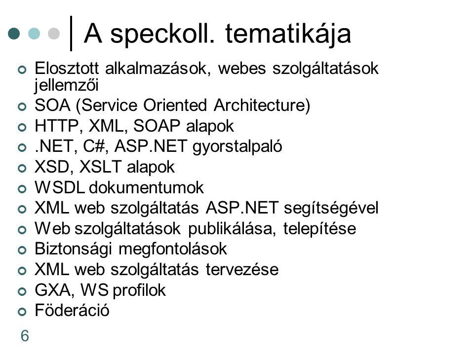 6 A speckoll. tematikája Elosztott alkalmazások, webes szolgáltatások jellemzői SOA (Service Oriented Architecture) HTTP, XML, SOAP alapok.NET, C#, AS