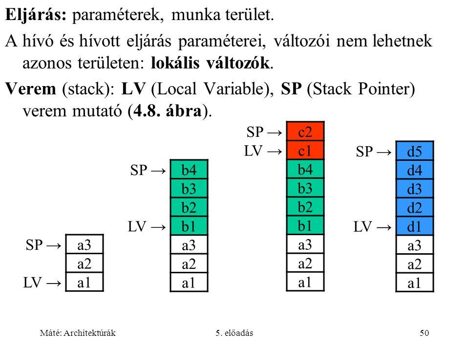 Máté: Architektúrák5. előadás50 Eljárás: paraméterek, munka terület.
