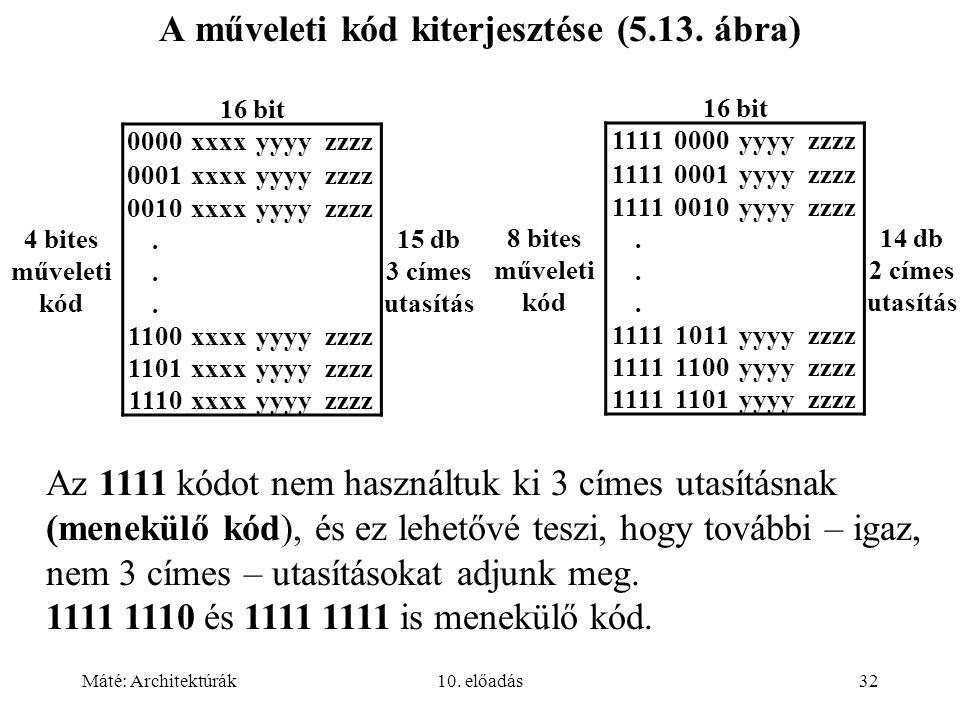 Máté: Architektúrák10.előadás32 A műveleti kód kiterjesztése (5.13.