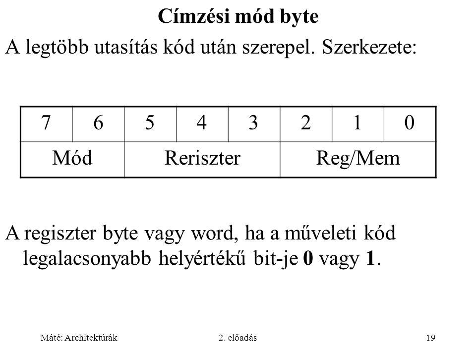 Máté: Architektúrák2. előadás19 Címzési mód byte A legtöbb utasítás kód után szerepel.