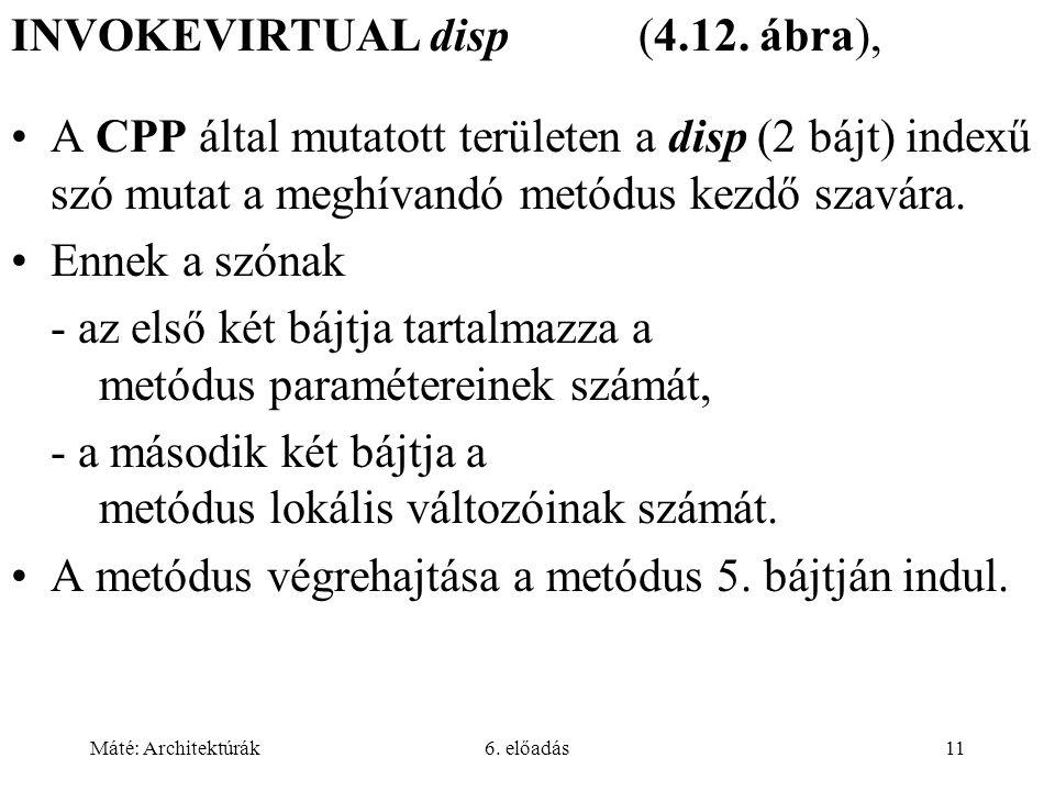 Máté: Architektúrák6.előadás11 INVOKEVIRTUAL disp (4.12.