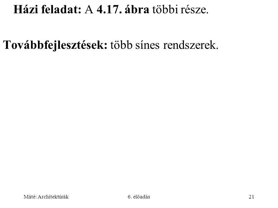 Máté: Architektúrák6.előadás21 Házi feladat: A 4.17.