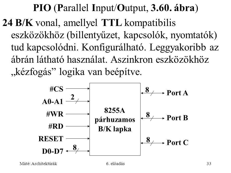Máté: Architektúrák6. előadás33 PIO (Parallel Input/Output, 3.60.