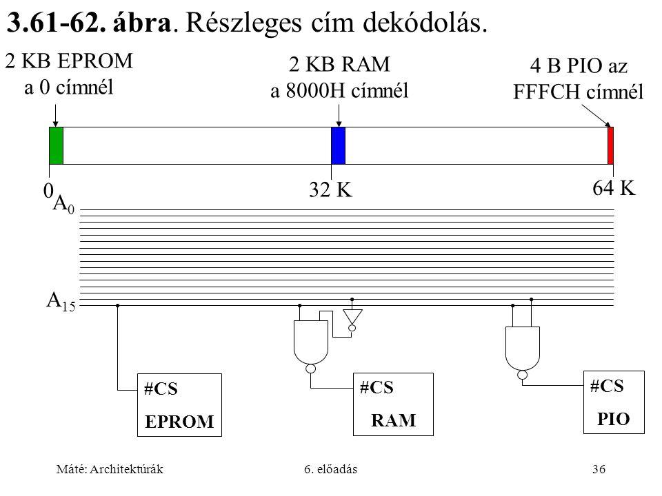 Máté: Architektúrák6. előadás36 3.61-62. ábra. Részleges cím dekódolás.