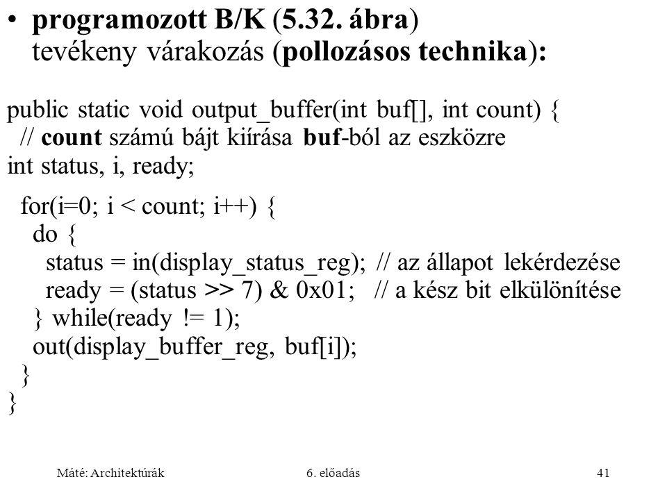 Máté: Architektúrák6. előadás41 programozott B/K (5.32.