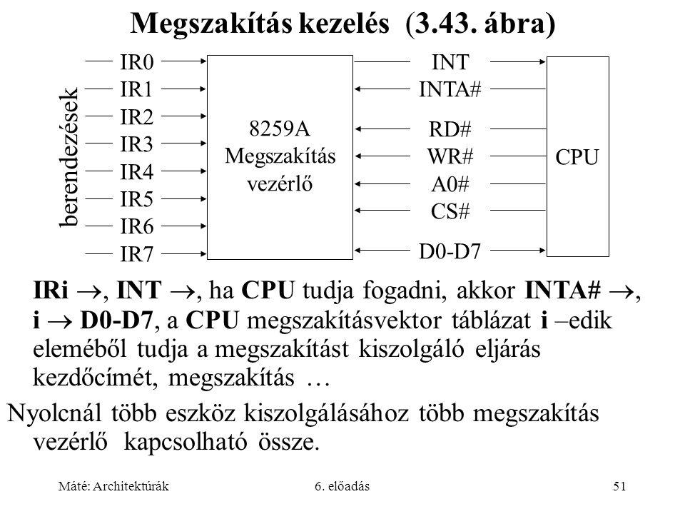 Máté: Architektúrák6. előadás51 Megszakítás kezelés (3.43.