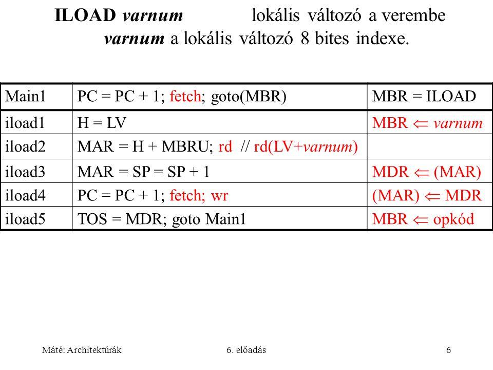 Máté: Architektúrák6.előadás57 Interrupt utasítások Szoftver megszakítást eredményeznek.