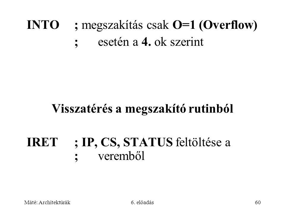 Máté: Architektúrák6. előadás60 INTO; megszakítás csak O=1 (Overflow) ; esetén a 4.