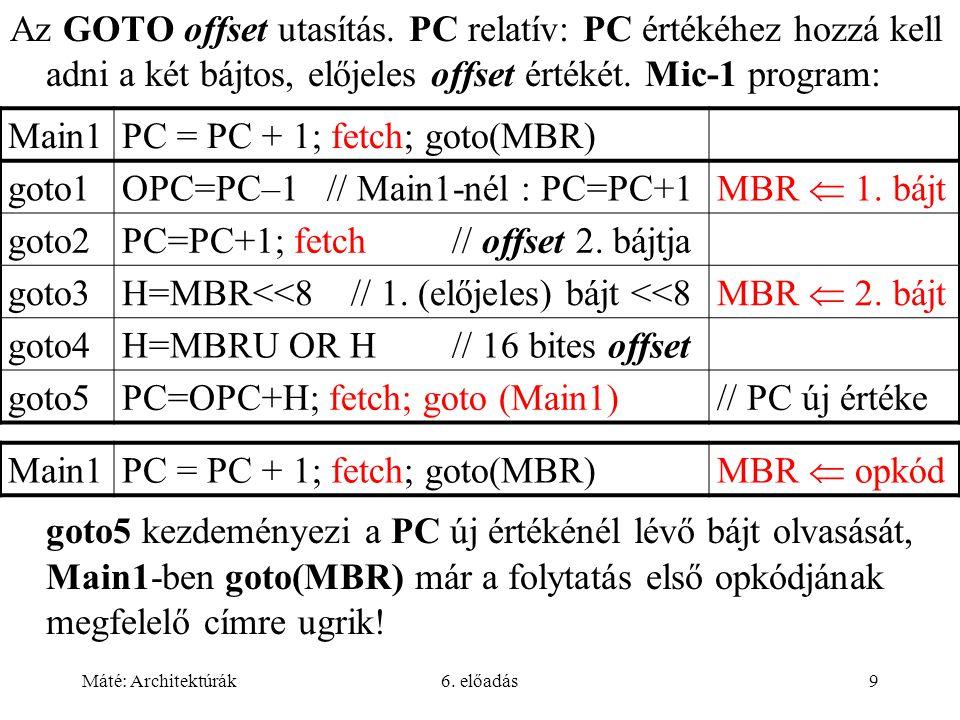 Máté: Architektúrák6. előadás9 Az GOTO offset utasítás.