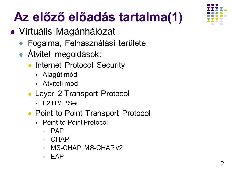 2 Az előző előadás tartalma(1) Virtuális Magánhálózat Fogalma, Felhasználási területe Átviteli megoldások: Internet Protocol Security  Alagút mód  Átviteli mód Layer 2 Transport Protocol  L2TP/IPSec Point to Point Transport Protocol  Point-to-Point Protocol  PAP  CHAP  MS-CHAP, MS-CHAP v2  EAP