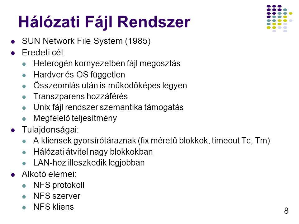 8 Hálózati Fájl Rendszer SUN Network File System (1985) Eredeti cél: Heterogén környezetben fájl megosztás Hardver és OS független Összeomlás után is működőképes legyen Transzparens hozzáférés Unix fájl rendszer szemantika támogatás Megfelelő teljesítmény Tulajdonságai: A kliensek gyorsírótáraznak (fix méretű blokkok, timeout Tc, Tm) Hálózati átvitel nagy blokkokban LAN-hoz illeszkedik legjobban Alkotó elemei: NFS protokoll NFS szerver NFS kliens