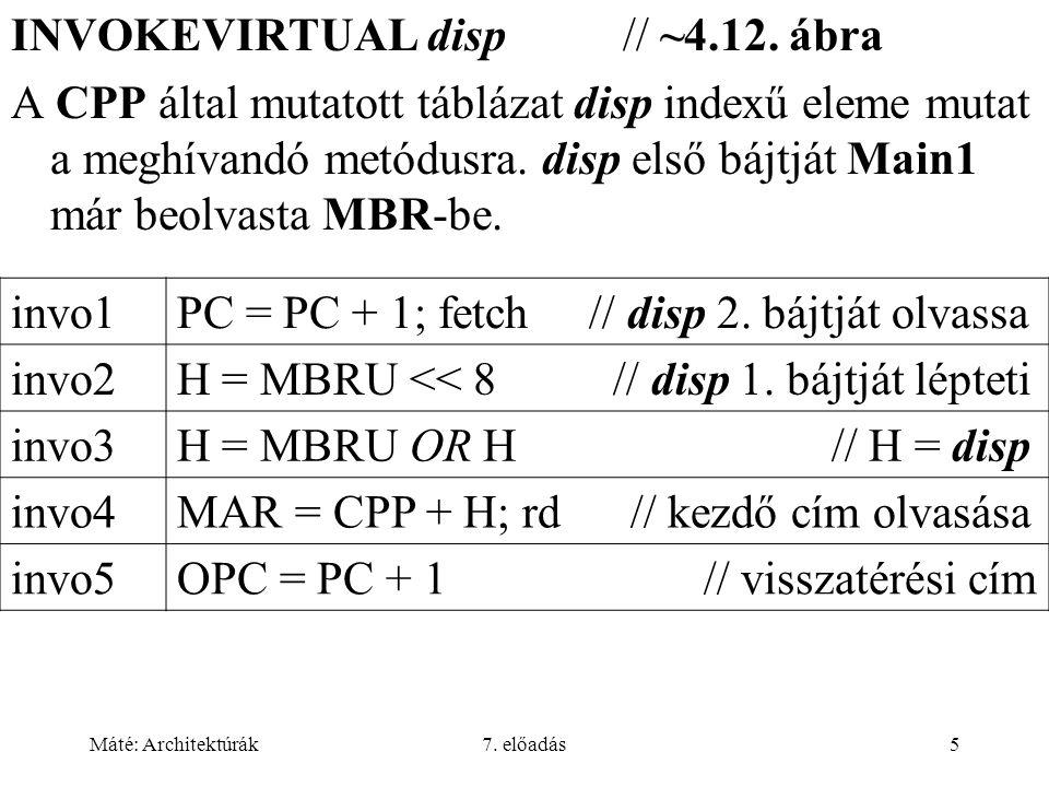 Máté: Architektúrák7. előadás5 INVOKEVIRTUAL disp // ~4.12.