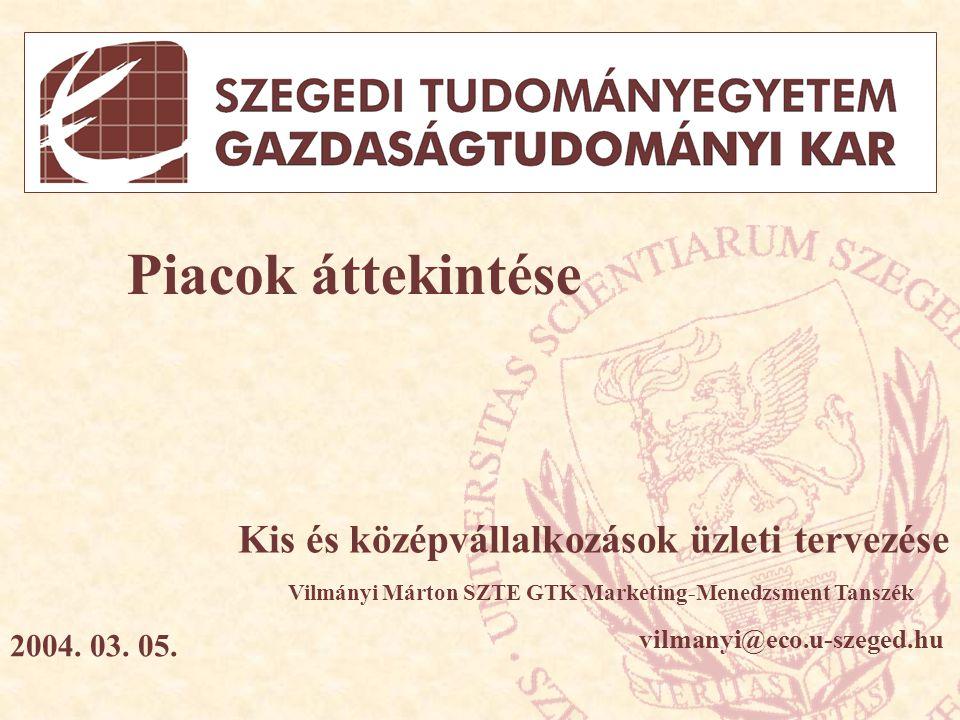 Piacok áttekintése Kis és középvállalkozások üzleti tervezése Vilmányi Márton SZTE GTK Marketing-Menedzsment Tanszék vilmanyi@eco.u-szeged.hu 2004.