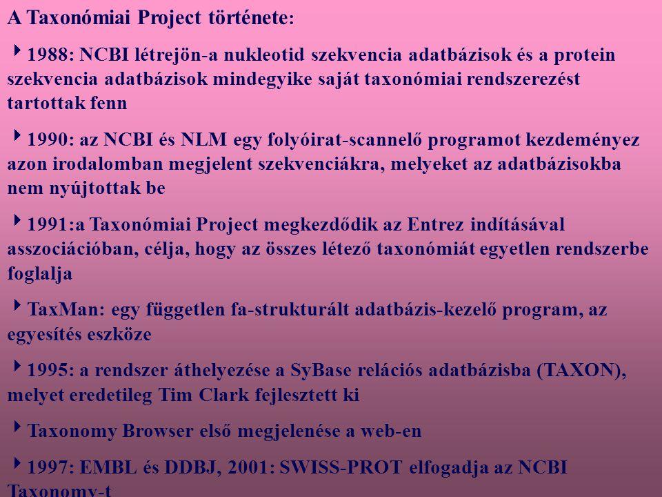  A Taxonomy Project csoport filogenetikus rendszerezést képvisel  A törzsfa egymáshoz illeszti az organizmusok közötti evolúciós kapcsolatokat  A rendszerezés bizonyos részei kevésbé fejlettek  A legmegbízhatóbb információ forrás az elsődleges szisztematikus és filogenetikus irodalom : [http://www.ncbi.nlm.nih.gov/Taxonomy/taxonom yhome.html/index.cgi.