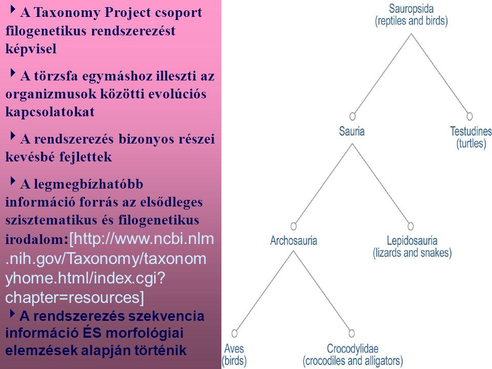 A Taxonómiai adatbank bővítése:  Naponta több,mint 100 új fajjal bővül az adatbank,és ez az arány nő  Az új nevek forrásai: -EMBL, DDBJ, GenBank-ban megjelent új szekvenciák -egy bizonyos software által talált nevek, amikor a protein szekvencia adatbázisokat az Entrez-hez adják -az NCBI szerkezeti csoportja által talált új nevek a PDB protein struktúra adatbázisban  Folyamatos az adatáramlás külső felhasználóktól is  hold until published (HUP)