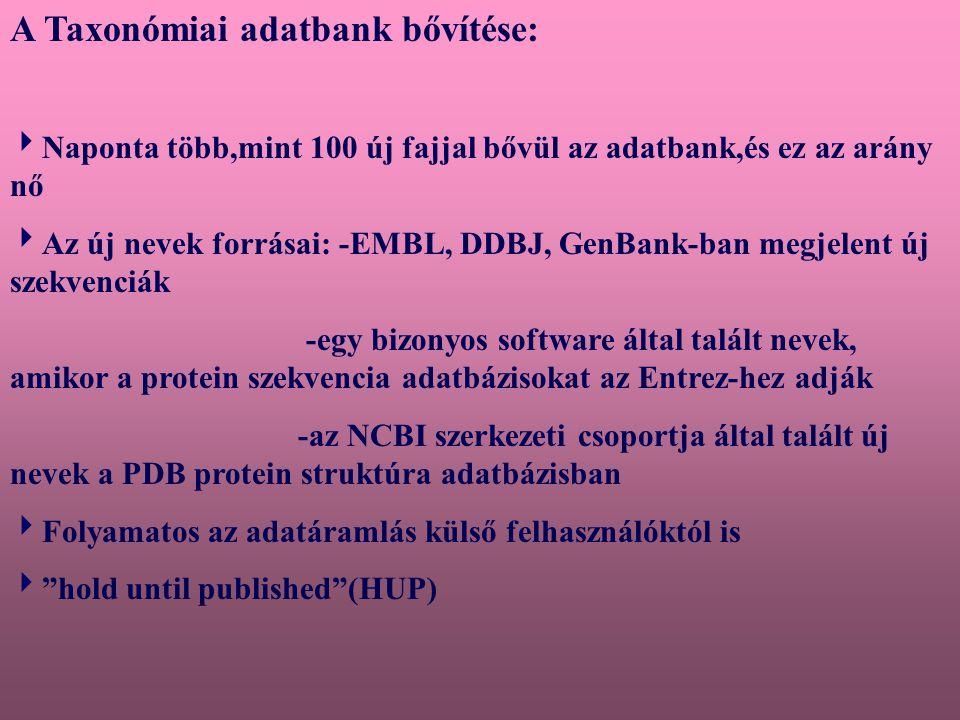 A Taxonomy Browser(TaxBrowser) [http://www.ncbi.nlm.nih.gov/Taxonomy/taxonomyhome.html/]  Hierarchikus megjelenítést nyújt  Csak a taxonok egy részhalmazát jeleníti meg  Folyamatosan frissített  A böngésző kétféle Web oldalt használ: 1.